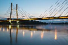 Backlit bridge at night Stock Image