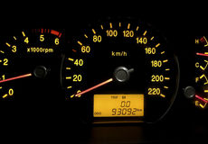 Backlit gauges of a car Stock Photography