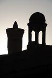 Backlit Kalon Mniejszościowy minaret w Bukhara zdjęcie royalty free