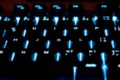 Backlit keyboard Stock Photography