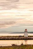 Backlit Lighthouse in Gaspe Peninsula Royalty Free Stock Photo