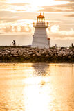 Backlit Lighthouse in Gaspe Peninsula Stock Photography