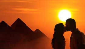 Backlit loving couple honeymoon in Egypt Royalty Free Stock Photo