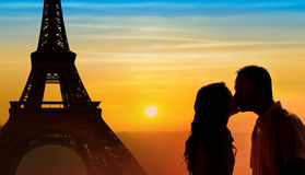 Backlit loving couple honeymoon in Paris Stock Photography