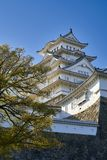 Backlit main tower of the Himeji castle, stone walls and a tree, Japan. royalty free stock images