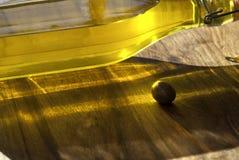 Backlit of olive oil bottle Stock Photo