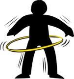 Backlit Person Using Hula Hoop Stock Photo