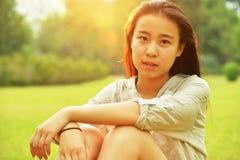 Backlit portraits girl Royalty Free Stock Image