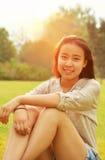Backlit portraits girl Stock Photo