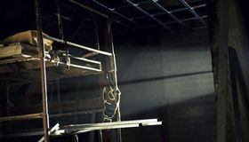 Backlit scaffold in the attic Stock Image
