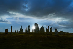 Backlit stone circle Stock Photo