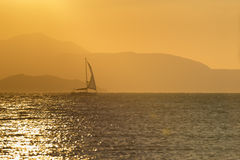 Backlit sunset sail Royalty Free Stock Photos