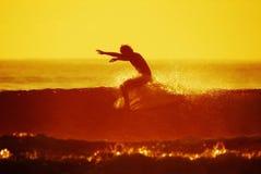 Backlit surfer Royalty-vrije Stock Foto