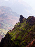 Backlit view down Waimea Canyon Stock Photo