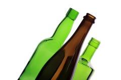 Backlit wijnflessen Stock Afbeeldingen