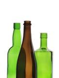 Backlit wijnflessen Stock Foto