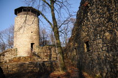 Backmost Wartenberg Castle Ruin. The Wartenberg castle ruin is located on a hill above the village of Muttenz. It is one of three castle ruins located on this Royalty Free Stock Photo