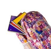 Backpacek cor-de-rosa com fontes imagens de stock royalty free