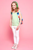 backpack ακουστικό κοριτσιών που θέτει αρκετά Στοκ φωτογραφίες με δικαίωμα ελεύθερης χρήσης