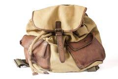 Backpack καμβά και δέρματος Στοκ Φωτογραφίες