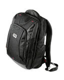 Backpack. New closed black backpack on white background Stock Photography