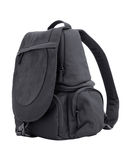 Backpack. Black sling bag isolated on white Royalty Free Stock Image