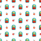 Backpack and apple pattern Stock Image