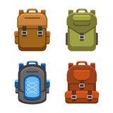 Backpack Bag Flat Style Set. Vector Stock Photography