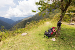 Backpack bag rucksack viewpoint rest beauty landscape view, Bolivia Royalty Free Stock Photos