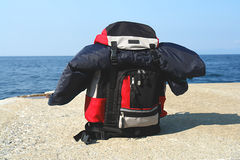 Backpack at the beach Stock Image
