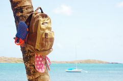 Backpack  beach sandals  palm tree seaside  adventure Stock Photos
