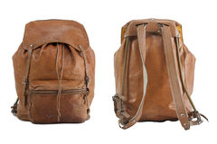Backpack in black leather Stock Photos