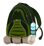 Backpack with the bottle of water Royalty Free Stock Images