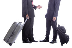 Backpack businessman talk Royalty Free Stock Photography