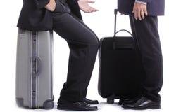Backpack businessman talk Stock Images