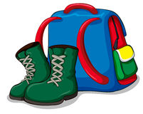 Backpack and camping boots Stock Photos