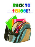 Backpack with colorful books Stock Image