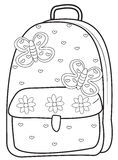 Backpack coloring page Royalty Free Stock Photo
