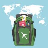 Backpack com passaporte, bilhete de ar e cartão de crédito sobre o mapa do mundo ilustração do vetor