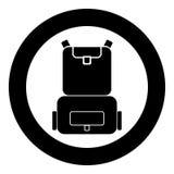Backpack a cor preta do ícone no círculo ou redondo ilustração stock