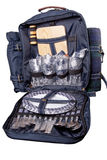 Backpack with dinner set for picnic Royalty Free Stock Photos
