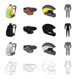 Backpack equipment, bicyclist sneakers, protective helmet, overalls. Cyclist outfit set collection icons in cartoon. Black monochrome outline style vector Stock Images