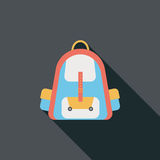 Backpack flat icon with long shadow. Cartoon vector illustration stock illustration
