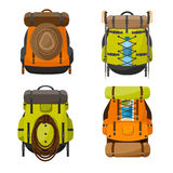 Backpack in a flat stzle. Vector illustration. School bag.Travel, camping or hiking. Tourism. Luggage. Royalty Free Stock Photo