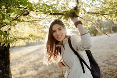 With backpack in the forest in the afternoon light. Young woman casual dressed, with backpack in the forest on afternoon light in the autumn season, going for a Royalty Free Stock Photos