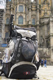 Backpack in front of Cathedral Santiago de Compost Royalty Free Stock Photos
