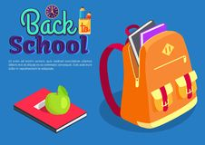 Backpack Full of Book Textbook with Apple Vector. Back to school poster with backpack full of books and textbook with snack vector illustration. School rucksack Stock Photography