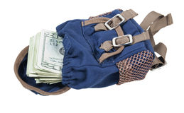 Backpack Full of Money Stock Photography