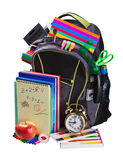 Backpack full of school supplies Royalty Free Stock Photo