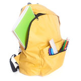 Backpack full of school supplies Stock Photos
